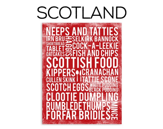 Scotland Food Poster - Scotland Poster - Food Word Art - Various Sizes & Colors