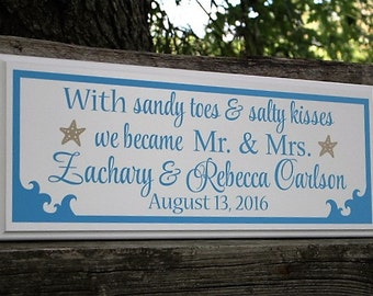 Sandy toes and salty kisses-personalized beach theme wedding signs-beach wedding reception signage-decor-gift-Mr & mrs beach sign-nautical