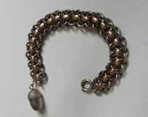 NEW PRICE Wonderful Antique French Silver And Vermeil Bracelet With Acorn Charm 40.4 Grams.