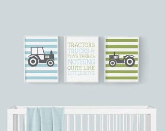 Tractor Nursery Decor - Boys Room Decor - Baby Boy Nursery - Nursery Wall Art - Playroom Decor - Farm Nursery Decor - Nursery Wall Print