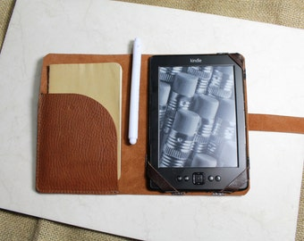 Kindle Voyage case - chrome tan italian leather RUSSET - Kindle case - kindle cover - Handmade by Valentina.