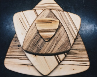 Mid Century Inspired Large Guitar Pick Serving or Cutting Board From Ambrosia Maple AKA Wormy Maple