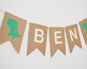 Dinosaur Name Bunting, Birthday Boy Party Decorations, Personalised Banner, Happy Birthday