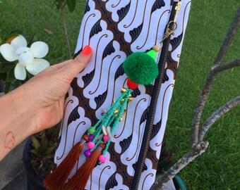 Batik print folded clutch