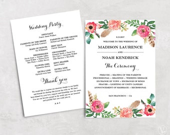 Floral Wedding Program Template, Printable Wedding Programs, DIY Wedding Programs, Instant DOWNLOAD - EDITABLE Text, 5x7, Peony Flower, VW14