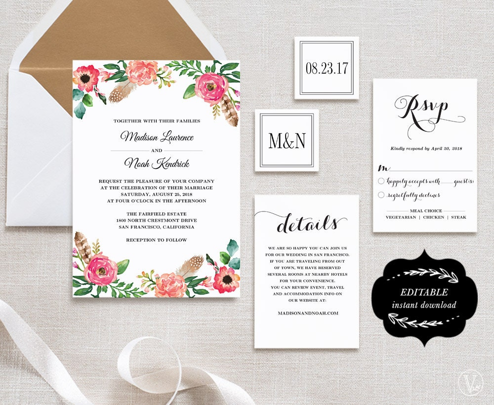 Wedding Invitation Suite Templates: Printable Wedding Invitation Suite Template DIY Wedding