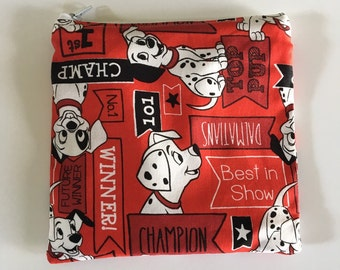 Red 101 Dalmations Reusable snack bag, cosmetic bag etc...
