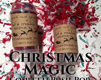 Set of 10 - Christmas Magic Confetti Push-Pops