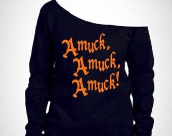 womens off shoulder halloween shirt / amuck / Womens halloween shirt