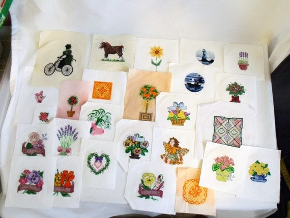 26 small cross stitch pictures, counted cross stitch to frame, wall art, embroidered pictures