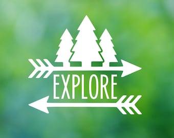 Explore Tree Arrow Vinyl Decal - Car Decal - Car Sticker - Laptop Decal - Laptop Sticker