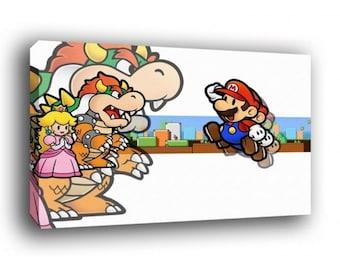 Super Mario Bowser and Princess Peach Canvas Art Print A1 A2 A3 A4