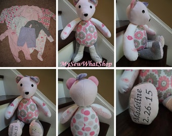 "18"" Memory Bear / Keepsake Bear from Baby Clothes **PLEASE Read the Listing Description for Detailed Information Needed for Ordering**"