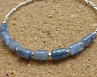 Kyanite Bracelet Hill Tribe Silver Bracelet Blue Stacking Bracelet Minimalist Gemstone Jewellery Delicate Boho Artisan Sterling Silver