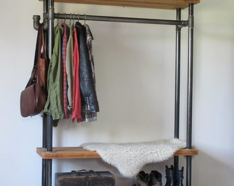 Clothes Rail With Racks And Hook, Hanger Rack Industrial Wardrobe, Rustic And Industrial Reclaimed Barn Wood Furniture