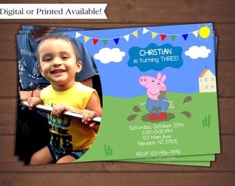 Peppa Pig Birthday Invitation - Brother George Birthday Invitation