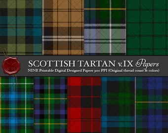 Digital Printable Scottish Tartan Plaid: Highland Clan Campbell, Simpson, Argyll, Loudoun, Hunting, Loch Awe, Red, Camel, Fashion, Artifact