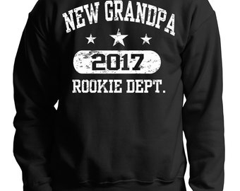 New Grandpa 2017 Rookie Dept Baby Announcement Gift For Grandfather Sweater Sweatshirt