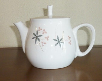 "Vintage FRANCISCAN Whitestone Ware Teapot ""Happy Talk"" Pattern Mid Century Modern Serving Ware White Floral Design 1959"