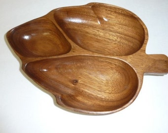 Vintage Genuine Monkey Pod Wood Serving Tray Divided Bowl Solid Wood Snack Tray Mid Century Leaf Shaped Wooden Bowl Rustic Country Decor
