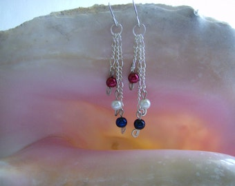 Red,White,and Blue Glass Pearl Earring - USA Made Earring - 4th of July Earring - Silver Dangle Earring - America