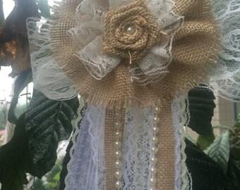 6pcs Vintage Burlap Lace Bow Pew Chair bow Pew Bow Rustic burlap Wedding Decor