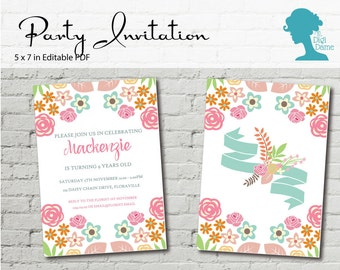 Digital Party Printable: Editable Party Invitation 5x7in Vintage Flowers in Pink, Mint and Green INSTANT DOWNLOAD