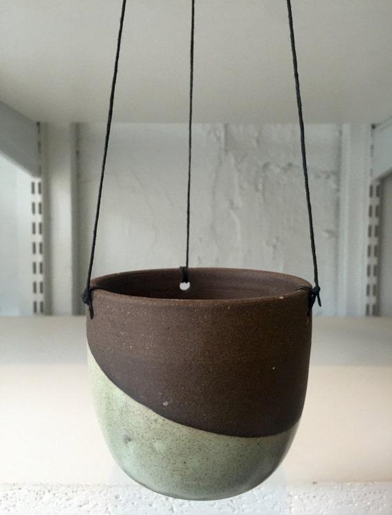 Ceramic sage green outdoor/indoor hanging jar flower/herb/ candle holder