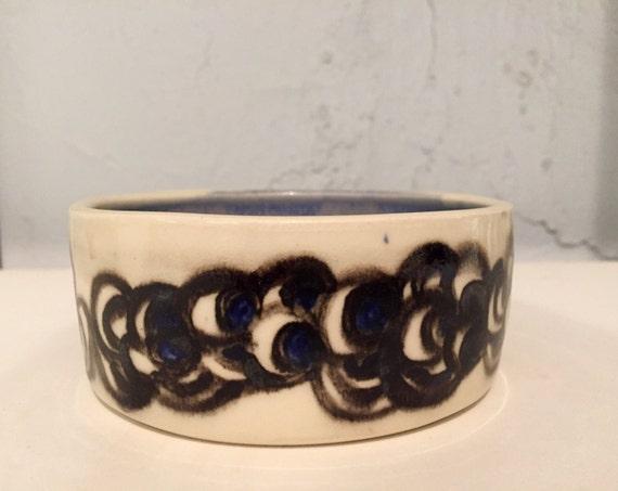 Ceramic bowl - multipurpose dish- abstract design - blue and white - half price!