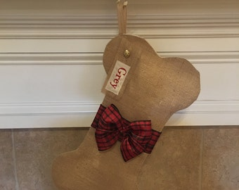 Christmas Stocking for Dogs - Personalized Christmas Stocking for Dogs - Burlap Bone Shaped Stocking