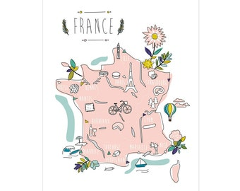 "Decorative and illustrative poster - map of France / ""Promenade en France"""