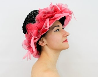 50s Pink Flower Hat | Black Wide Brim Straw | Zelda's Original