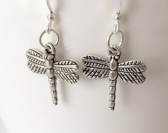 Silver Dragonfly Earrings/Large Dragonfly Earrings/Large Silver Dragonfly Earrings/Antique Silver Dragonfly Earrings