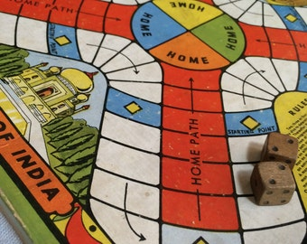 The Game of India, Whitman Publishing Co. 3042 1930's Parcheesi, Parchisi  B548