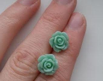Rose Resin 10mm Earrings