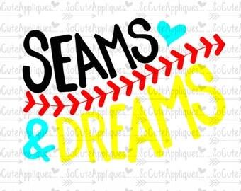 SVG, DXF, EPS Cut file, Seams & dreams, baseball sister svg, softball mom svg, socuteappliques, silhouette cut file, softball cut file