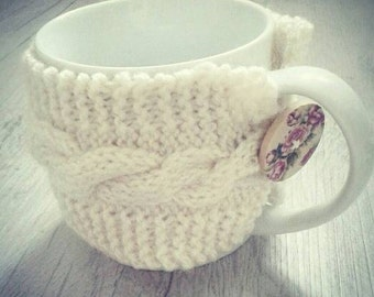 Handmade knitted gift cable cup cosy coffe sleeve