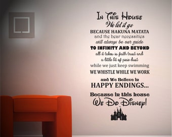 In this house we do Disney - Childrens Bedroom - Wall sticker - Contemporary - Vinyl Decal