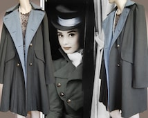 Military riding green ghaki jacket vintage fitted Victorian coat war bride double breasted flare tall Edwardian size UK 12 US 8