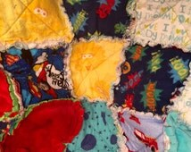 Superheros, Spaceships, and Rockets Baby Rag Quilt