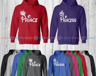 Prince & Princess - Matching Couple Hoodie - His and Her Hoodies - Love Sweaters
