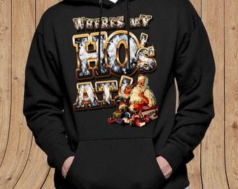 Where My Ho's At - Ugly Christmas HOODIE - Sweater - Funny Christmas Shirt