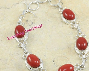 Natural Hot Red Coral Fashion GIRL 925 Sterling Silver Chain Bracelet 8 9inchs