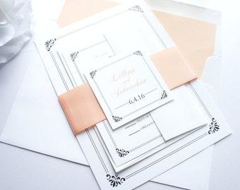 Peach Wedding Invitation, Peach Wedding Invitations, Peach Wedding Invite, Peach and Gray, Formal Wedding Invite - Deposit