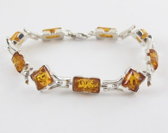 """Sterling Silver Natural Amber Gem stone Summer Fun Bracelet 7 3/4"""""""