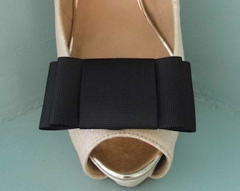 Handmade Large Black Bow Shoe Clips - other colours on request