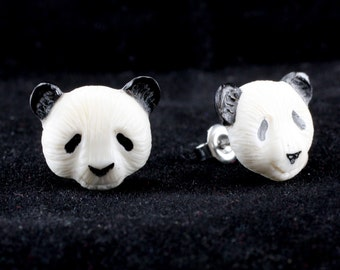 "Hand Carved - ""Panda"" - Bone with Horn Inlay Stud Earring - Rainforest"