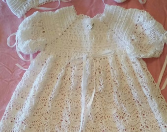 Christening Crochet Dress Set