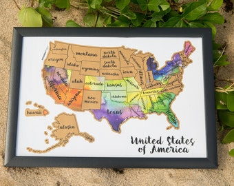 United States of America US Watercolor Art  Scratch Your Travels™ USA US Map Poster Wedding Anniversary gift present