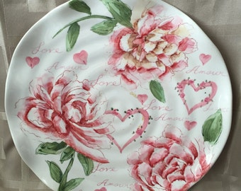 Amoure Hand Painted Pink Peonies  Love Dinner Plate with Ruffled Edges